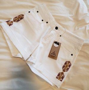 Prana white denim shorts
